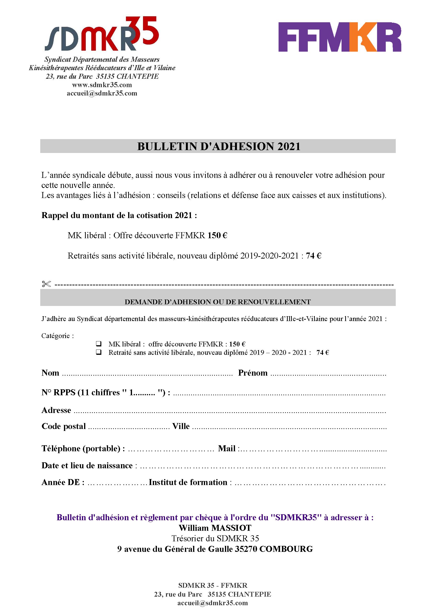 Bulletin d'adhésion SDMKR 35-FFMKR 2021